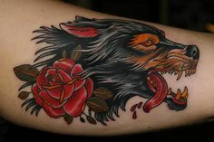 Tagged as: wolf tattoo rose neo traditional
