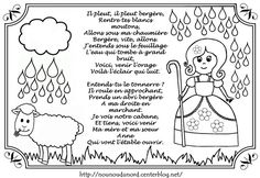 Comptine il pleut bergère à colorier par nounoudunord