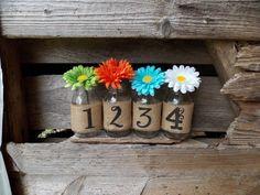 Burlap Mason Jar Table Numbers DIY Mason Jar by DownInTheBoondocks