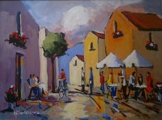 Street And Restaurant Scene - Gericke Anton Upcoming Artists, South African Artists, Pretoria, Donkeys, Anton, Cottages, Flower Art, Art Gallery, Scene