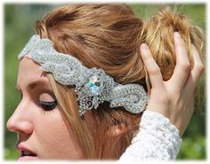 OOAK Handmade Bridal Headband Rhinestone Headband The Great Gatsby Hair Jewelry Headpiece Wedding, Wedding Veils, Bridal Headpieces, Bridal Hair, Bridesmaid Headband, Bridesmaid Hair Accessories, Wedding Accessories, Chain Headband, Rhinestone Headband