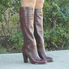 """Audrey Brook Abadley leather boots Rich luxurious real leather upper in burgundy / wine. Decorative stitching, stacked heel matches the leather color. Almond toe. Full inner zipper. Goring at the top of the boots for better fit. Slightly padded smooth lining   Details: Shaft height 14-1/2"""", circumference 14"""". Heel 4"""". The boots are marked size 8, but fit size 7.5M.  Please use only ✔OFFER  button for all price negotiations. I'll do a price drop⤵ for you for discounted shipping, if we agree…"""