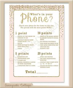 What's in Your Phone bridal shower game by SunnysideCottageArt Wedding Shower Games, My Bridal Shower, Wedding Games, Shower Party, Our Wedding, Wedding Planning, Bridal Showers, Wedding Stuff, Dream Wedding