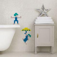 Retro gaming in tile designs: Lemmings