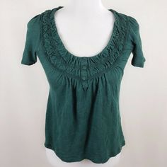 8b4182f13ab Anthropologie C. Keer Women XS Green Ruched Scoop Neck Shirt Blouse  #fashion #clothing