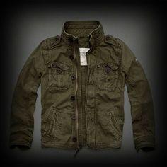 Abercrombie&Fitch メンズ ジャケット アバクロ Silver Lake Shirt Jacket ミリタリージャケット 古めかされた軍の啓示を受けたボタン、ハンドメイドダメージ加工されたゴツゴツした素材・・・古着っぽさな味がでています。