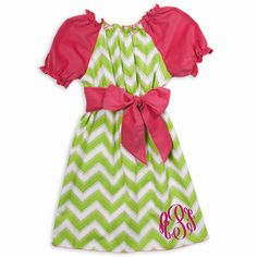 love the color combo!  Lolly Wolly Doodle Girls Lime Chevron Pink Corduroy Sash Dress.