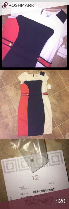 NWT Liz Claiborne color block dress NWT. Perfect condition. Great for so many different types of events or even work. Love the modern zipper down the back! Liz Claiborne Dresses