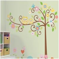 Owls on a Tree Wall Decals for Kids Rooms - Owl-themed Nursery - Owl Nursery Decor - Removable Wall Decals for Decorating Nursery, Kids Room, Classroom or Playroom