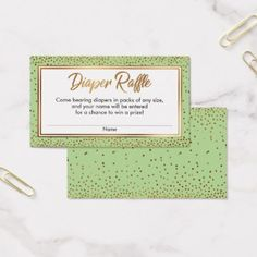 Gold and Green Confetti Diaper Raffle Ticket Cards - party gifts gift ideas diy customize