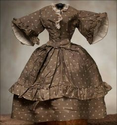 Antique French Original Fashion Doll Dress by HERBILLON. ca 1860.