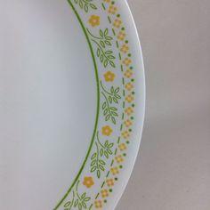 "✔ 7 Corning Corelle SUNSHINE 10 1/4"" Dinner Plates SEVEN Green Yellow #Corning"