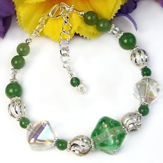 Adjustable Bracelet Green Lampwork Glass Crystals Gemstone Handmade | PrettyGonzo - Jewelry on ArtFire