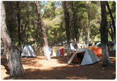 Alonissoshotels.gr  Camping Rocks Alonissos, Αλόννησος Camp Rock, Greek Islands, Planet Earth, Outdoor Gear, Tent, Planets, Greece, Camping, Rocks