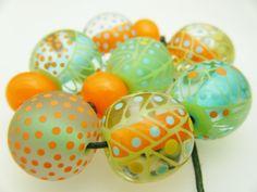 Moogin Beads- Citrus batik patterned large round bead set - Lampwork / glass - SRA by mooginmindy on Etsy
