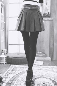 grey wool tweed box pleat skirt, black tights and stripes