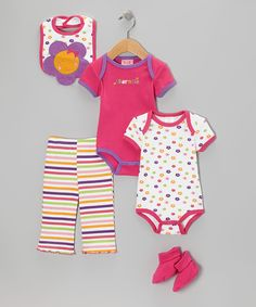 Hot Pink 'Adorable' Bodysuit Set | Daily deals for moms, babies and kids
