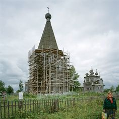 St. Blaise's Church of the Intercession under repair, built 1761, in Liadiny, Arkhangel region.