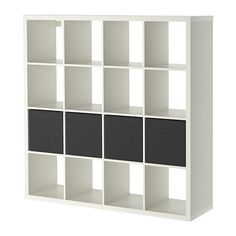 KALLAX Shelving unit with 8 inserts Black-brown 147 x 147 cm ...