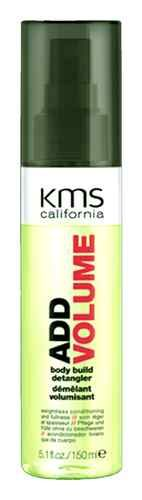 KMS Add Volume body build detangler 5.1 oz / 150 ml weightless addvolume    Weightless conditioning and fullness.  Leave-in weightless conditioner. Provides up to 40% more volume. Detangles and enhances fullness.    Shake. Spray onto towel-dried hair and comb through.