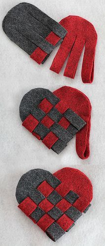 "Weave heart-shaped ""baskets"" out of felt: cute for Christmas decor or Valentine's Day; you can tuck candy or surprises in there!"
