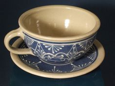 Personal Bowl   Soup Mug  Soup Bowl  and Plate  in White on Blue Arabesque. $110.00, via Etsy.