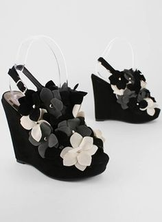 Flower Stud Slingback Wedges in Black Multi from GoJane