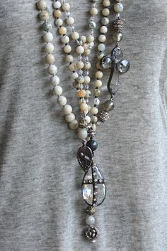 Crystal tear drop with rhinestone cross on african opal long necklace Silver Jewelry, Vintage Jewelry, Jewelry Necklaces, Jewellery, Gothic Jewelry, Crystal Jewelry, Beaded Jewelry, Artisan Jewelry, Handmade Jewelry