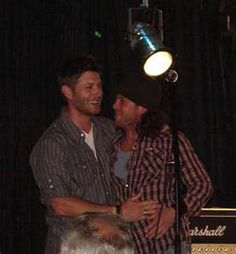Jensen Ackles and Christian Kane in Dante  I would like to be in the middle of that hug.  ;-)