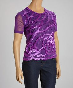 Look what I found on #zulily! Purple Floral Embroidered Scoop Neck Top - Plus by C.O.C. #zulilyfinds