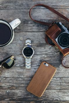 Wednesday morning essentials: coffee, camera, sunnies, phone and most importantly our wearable smartwatch Q Founder. via @stayclassic