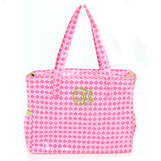Monogrammed Pink Scales Patterned Tote Bag