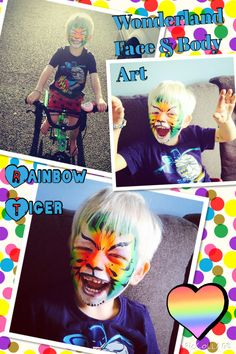 Rainbow tiger face paint