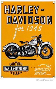 Harley-Davidson¨ 1940 Porcelain Sign