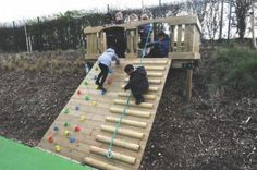 backyard playset Embankment log Climber - Slight Edge LLC - Embankment log Climber - How to buy Rugs Kids Outdoor Play, Outdoor Play Areas, Kids Play Area, Backyard For Kids, Backyard Projects, Backyard Ideas, Sloped Backyard, Sloped Garden, Backyard Landscaping