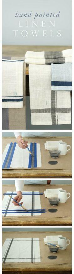 Hand Painted Linen Kitchen Towels & Napkins-  Must Do DIY Towels Tutorials