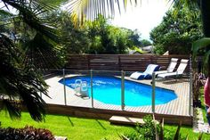 This is above ground pool but I love design for In ground pool