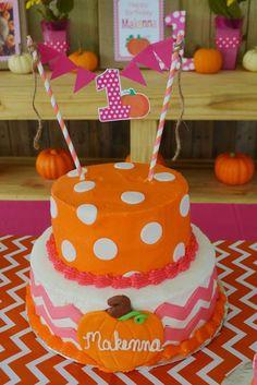 Amanda M's Birthday / Pumpkins / Fall / Birthday - Photo Gallery at Catch My Party Pumpkin Birthday Cakes, Fall Birthday Cakes, Pumpkin Patch Birthday, Pumpkin Birthday Parties, Pumpkin First Birthday, 1st Birthday Parties, Birthday Celebration, Birthday Ideas, Fall 1st Birthdays