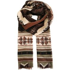 Etro woven scarf (2,330 SAR) ❤ liked on Polyvore featuring accessories, scarves, brown, colorful scarves, cashmere scarves, etro, braided scarves y brown shawl
