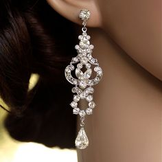Rhinestone Chandelier Earrings Long Bridal Earrings Art Deco Wedding Earrings Crystal Wedding jewelry, FRANCES