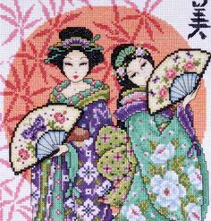 Design Works Counted #crossstitch  TWO GEISHAS #decor #DIY #crafts