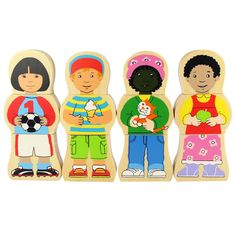 These character themed wooden shapes are perfect for encouraging dexterity, coordination and imagination. Youngsters will enjoy matching and discussing these four cheerful children, in a range of outfits and ethnicities, and their sturdy, easy to handle nature allows for simple but enduring play.