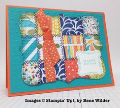 Stampin' Up! ... handmade quilt card by Rene Wilder ... inchies from patterned papers ... decorative machine cross stitching ... embedded embossing ... die cut with top not ... luv the rusty orange and deep turquoise ...