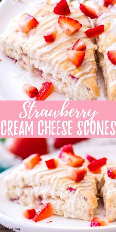 These homemade strawberry cream cheese scones are filled with fresh strawberries and topped with a vanilla glaze. Cream cheese gives these strawberry scones an unbelievably rich, soft texture, making Strawberry Scones, Strawberry Breakfast, Strawberry Desserts, Köstliche Desserts, Delicious Desserts, Dessert Recipes, Cake Recipes, Recipes For Fresh Strawberries, Strawberry Cream Cheese Dessert