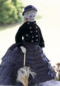 """15"""" (38 cm.) Antique French bisque doll poupee by Jumeau with gentle expression - France, c.1875."""