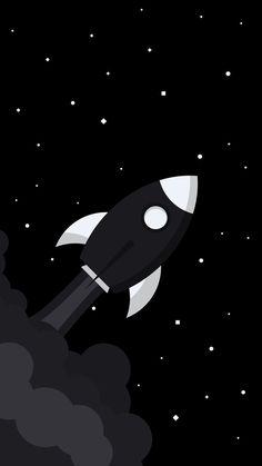 Black Rocket in Space Wallpaper