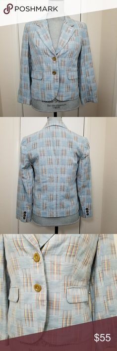 """Anthro DotL Fading Madras blazer Size 6 Anthropologie Daughters of the Liberation blazer in light blue with red, yellow and white plaid. 2 faux side pockets. 1 faux left breast pocket. Under collar has pink seersucker print. Lined in light green seersucker. 2 button front. Cropped fit, reaches above wrists and just above hips. Excellent used condition. Flat lay measurements: Approximately 18"""" bust, 12"""" from underarm to hem. Anthropologie Jackets & Coats"""