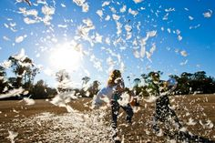 Pillow fight engagement pictures? Yes, please!