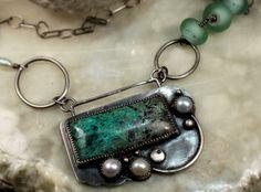 Silver Necklace of Gem Silica Chrysocolla Quartz by madstarsilver