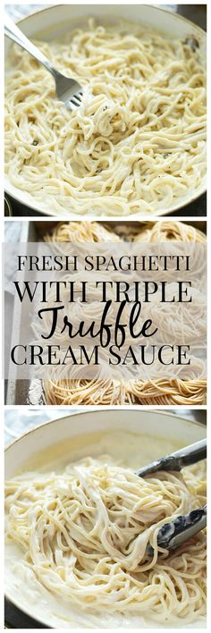 Fresh Spaghetti with Triple Truffle Cream Sauce (Italian Recipes Spaghetti) Truffle Pasta, Truffle Cream, Truffle Recipe, Truffle Oil, Flan, Pasta Recipes, Cooking Recipes, Yummy Recipes, Dinner Recipes